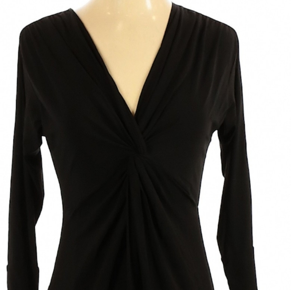 DKNY Black Long Sleeve Front Knot Dress